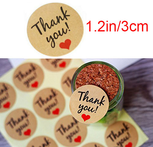150pcs Round Thank You Sticker Kraft Paper Decoration Hand Made Gift box label with Red Heart party Decoration in Party DIY Decorations from Home Garden