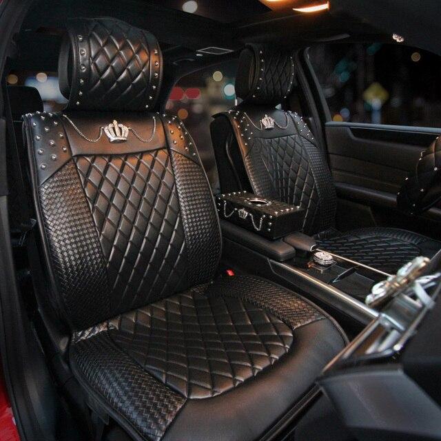 2017 Fashion Girl Rhinestone Covered Car Seat Cushion Covers New Luxury Pu Leather Auto Universal Crystal