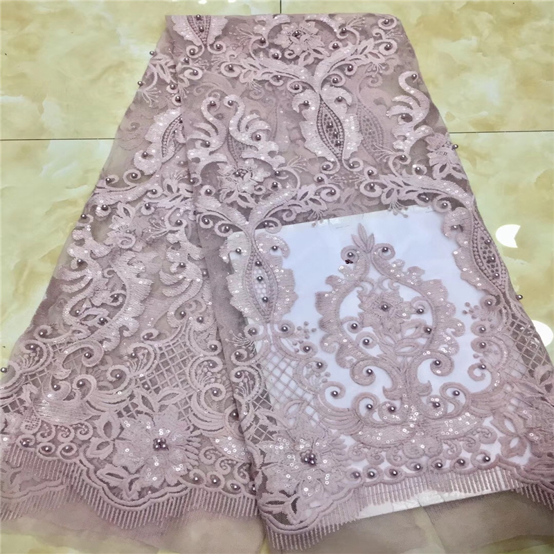 VILLIEA Lace Fabric White Onion Color African Lace Fabric With Beads Nigerian French Fabric High Quality
