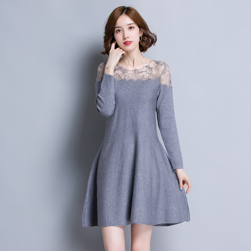 New design autumn fashion womens lace neck sweater dress elegant ladies slim high waist lace patchwork knit dress pullovers