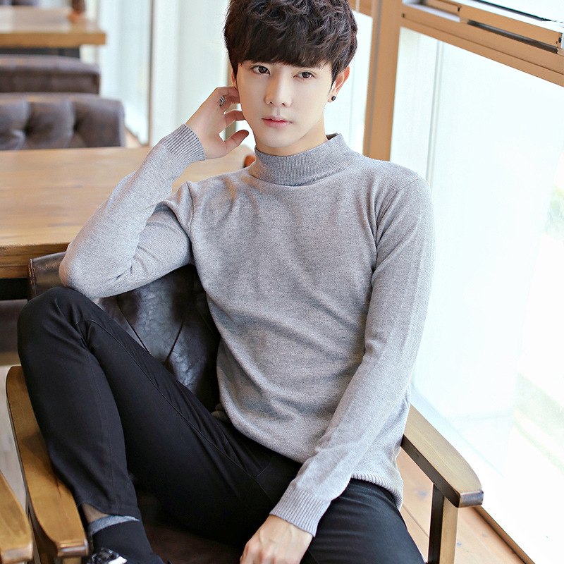 2018 men turtleneck sweater pure color cultivate ones morality warm jumper youth mens re ...