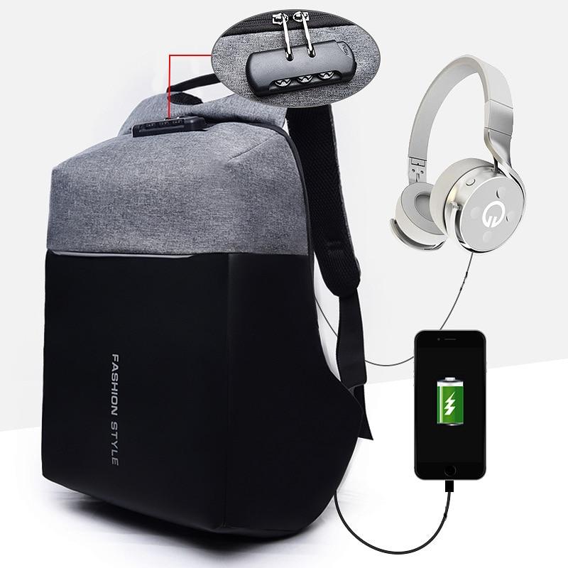 Anti-theft Backpack Laptop Bag Men Women 15.6 Notbook Waterproof Bagpack Male Travel USB Charging Headphone Password BackpacksAnti-theft Backpack Laptop Bag Men Women 15.6 Notbook Waterproof Bagpack Male Travel USB Charging Headphone Password Backpacks