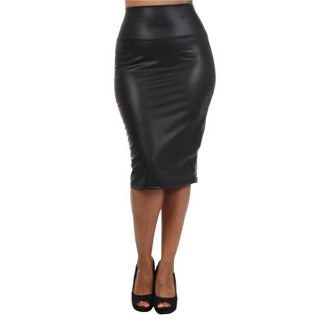 e39820024 Womens Ladies Wet Look Plus Size Faux Leather Pencil Stretch Midi Skirt 8  to 14