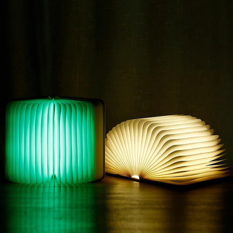 Купить с кэшбэком [LTOON]Creative Foldable Pages Led Book Shape Night Light Lighting Lamp Portable Booklight Usb Rechargeable Table Book Light gif