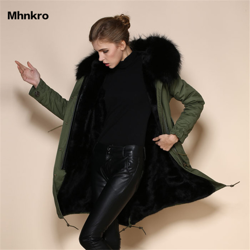 2018 sexy black real fox liner Army green coat,High Quality winterparka coat,China fur hood jacket Suppliers