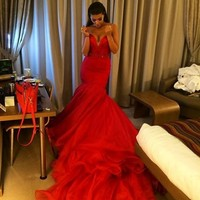 Long Chapel Train Red Formal Occasion Dress Sweetheart Sleeveless Tulle Evening Dres Off The Shoulder Mermaid Vestido De Festa