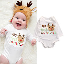 Baby Boy Girls Cotton Christmas White Long Sleeve Rompers Jumpsuit Clothes Outfits 6-9 Months