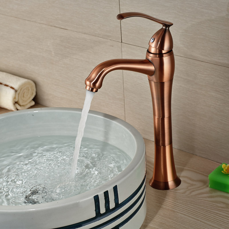 Antique Bronze Single Hole handle Brass Basin Vessel Sink Faucet Deck Mount with Hot Cold Water