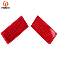 POSSBAY Red Lens Rear Bumper Reflector Brake Parking Lights Brake Lamp Sticker For VW Touareg Typ