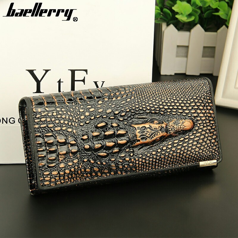 Foreign Trade Leisure High Quality Crocodile Grain Real Genuine Leather Women Wallets Large capacity Card Holder Purse Wallet europe station genuine leather joint capacity mommy fashion trend both shoulders foreign trade woman package generation hair