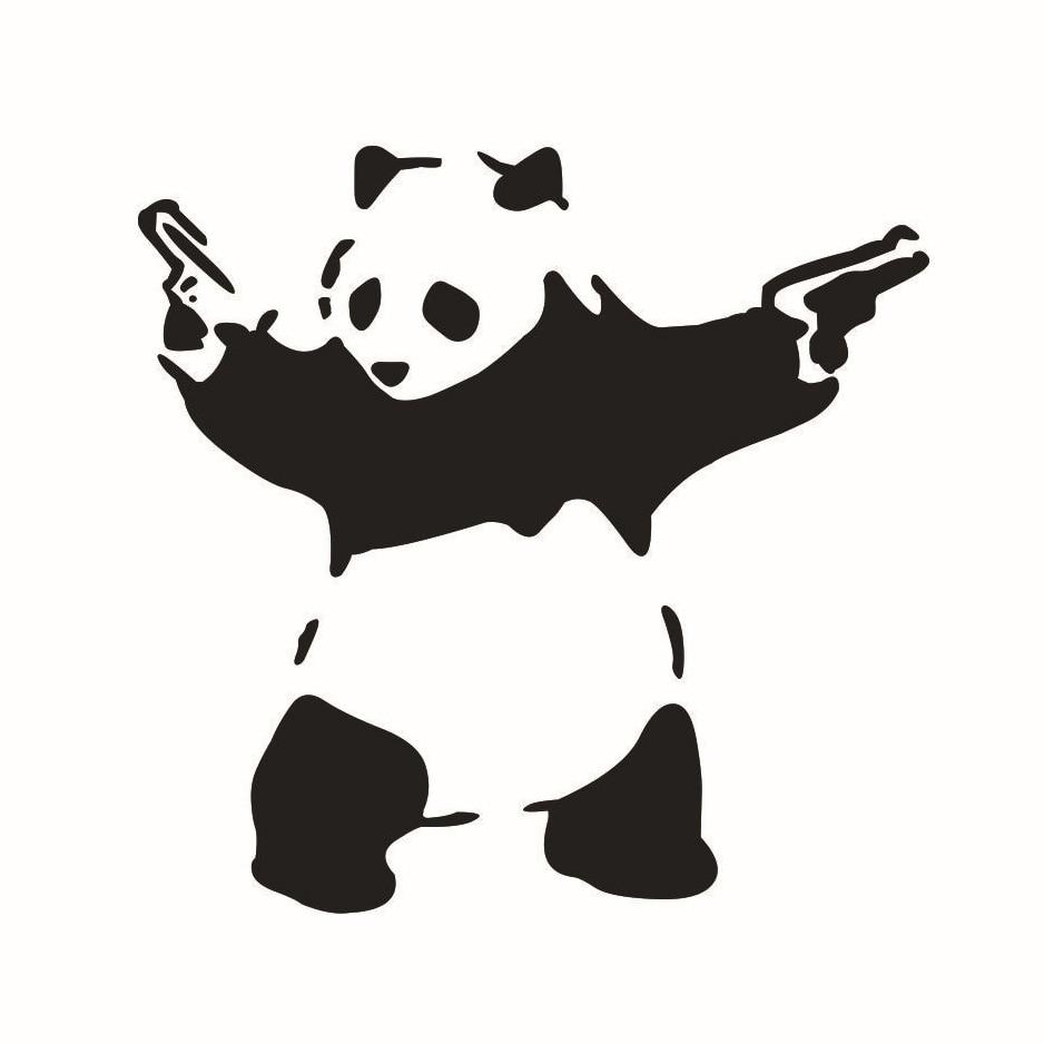 Car bumper sticker designs - Otokit 3d Animal Pattern Funny Cute Panda With Guns Vinyl Jdm Decal Auto Car Window Vehicle
