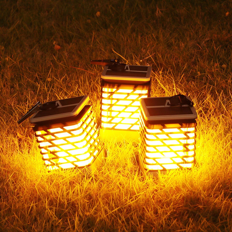 Led Landscape Lights Flickering: 75 LED Outdoor Solar Light Flame Flickering Solar Panel