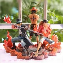 Новинка; Лидер продаж; 3 шт./компл. 14-17 см One piece Monkey D Луффи ace Сабо коллекционеров фигурку игрушки Рождество игрушка