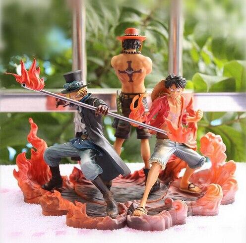 New hot 3 pçs/set 14 - 17 cm de uma peça macaco D Luffy ace Sabo coletores de ação figura brinquedos de natal brinquedo