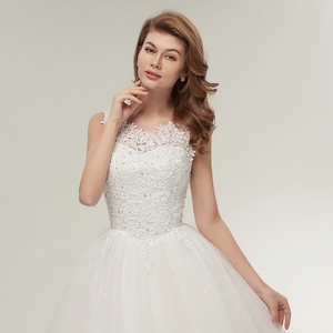 Image 4 - Fansmile Korean Lace Up Ball Gown Quality Wedding Dresses 2020  Customized Plus Size Bridal Dress Real Photo FSM 002F