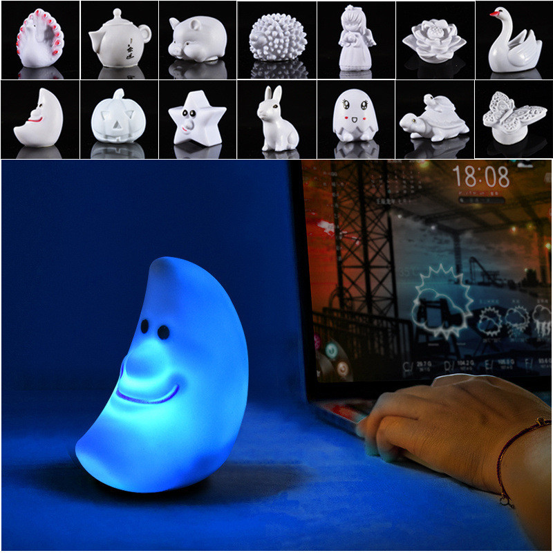 LAIDEYI Vinyl Toy Built-In Battery Night Light LED Festival Home Decor Lamp Bedroom Bedside Seven Colors Lamp For Child Ift
