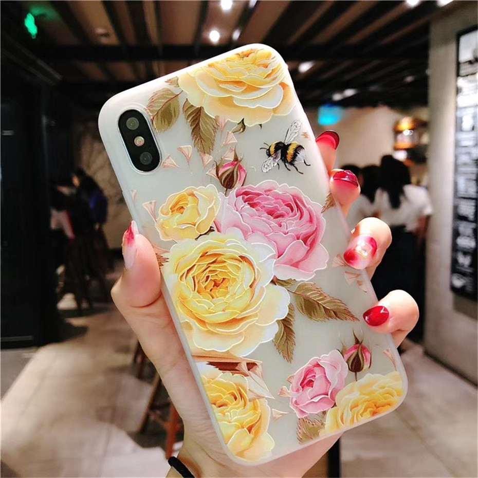 MOUSEMI Luxury 3D Silicone Case For iPhone 6 7 6S 8 Plus 5S SE X XS MAX XR Shockproof Flower Phone Case For iPhone 6 7 Case Girl (11)