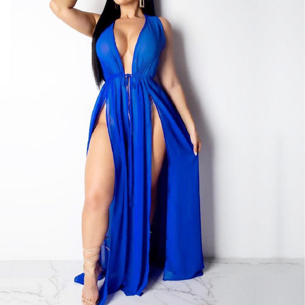 Sexy New Women Beach Cover Ups Swimwear Deep V Beach Maxi Wrap Long Dress Bikini Cover Up Sarong Kimono Kaftan Dress Beachwear - swimwear