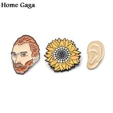 Homegaga Van gogh portrait painting Zinc tie Pins backpack clothes brooches for men women hat decoration badges medals D1213