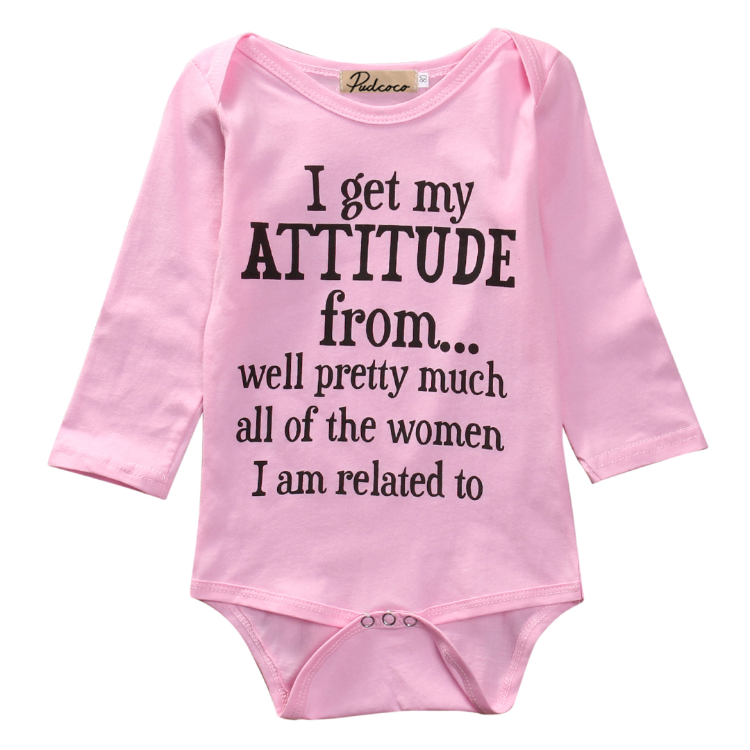 Autumn Baby Rompers Newborn Infant Baby Girls Long Sleeve Attitude Letters Print Cotton Romper Jumpsuit Playsuit Clothes Outfits