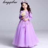 Top Quality Girls Dress Long Sleeved Children Princess Spring Autumn Girls Evening Dress Wedding Ceremony Flower
