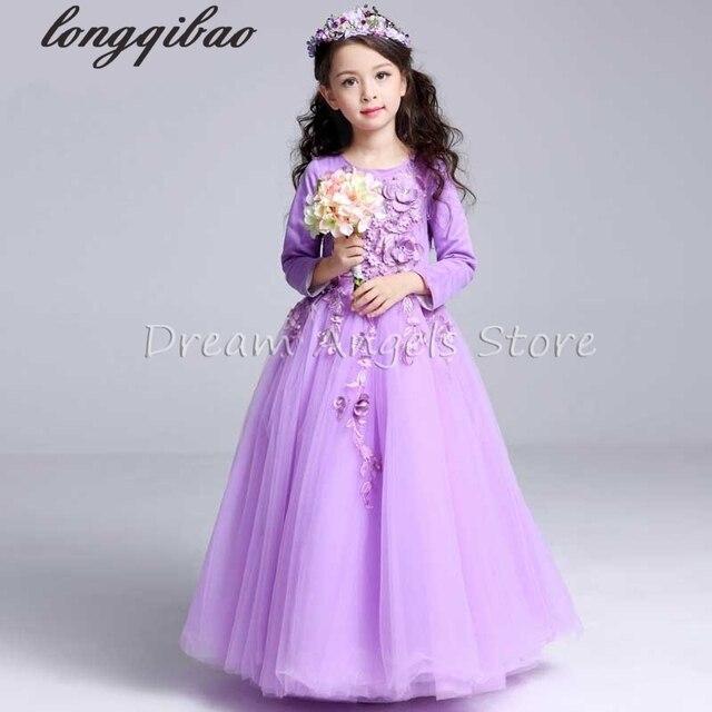 c365f85ead37 Top qualità Delle Ragazze del vestito a maniche lunghe per bambini  principessa primavera autunno ragazze