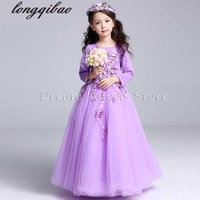 Top Quality Girls Dress Long Sleeved Children Princess Spring Autumn Girls Evening Dress Wedding Ceremony Flower