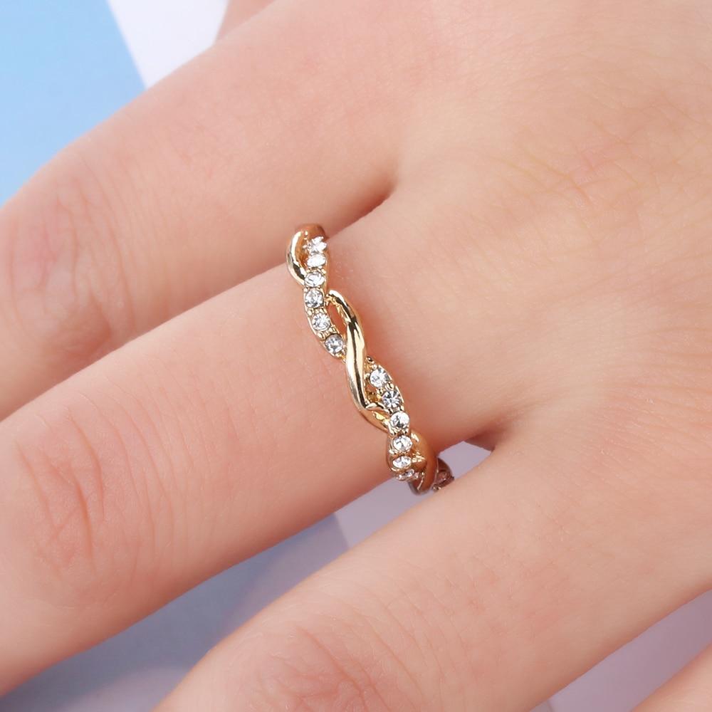 1 Pcwomen Fashion Solid Rose Emas Stack Twisted Cincin Berlian Ring Perhiasan Kawin Imitasi Ulang Tahun Pernikahan Pertunangan Ukuran 5 10 Di Rings Dari