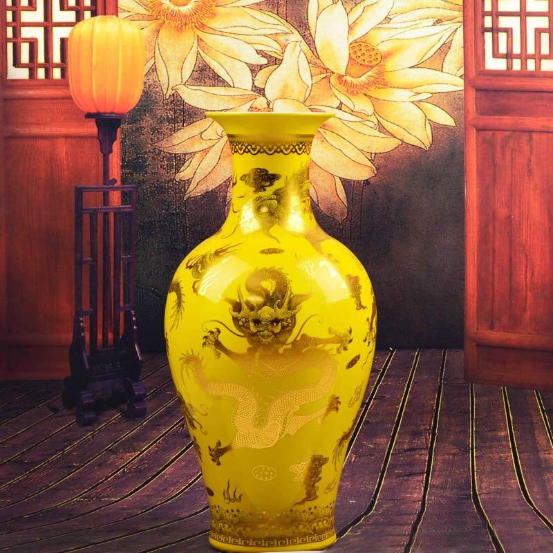 antique chinese dragon jingdezhen handmade golden drawing large floor vase for home decor tall floor vase