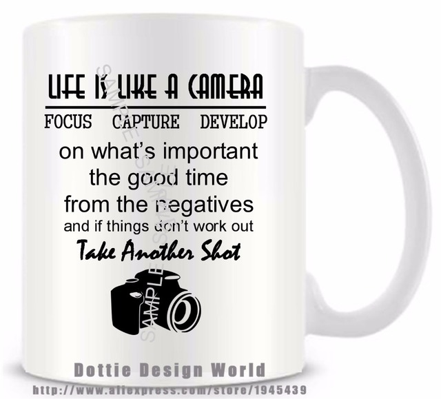 diy life is like camera quote funny novelty travel mug ceramic white coffee tea milk cup. Black Bedroom Furniture Sets. Home Design Ideas