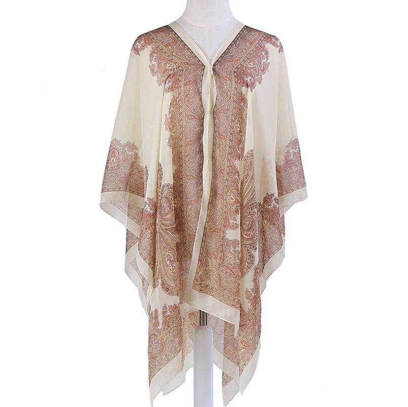 VISNXGI Fashion Floral Chiffon Blouses Women Spring Summer Style Beachwear Cover Up Elegant Flower Print Chiffon Loose Shirt 19