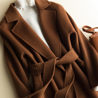 Топ продаж Весна осень зима модные элегантные женские Повседневное элегантные офисные свободные длинные шерсть и смеси верхней одежды Лид