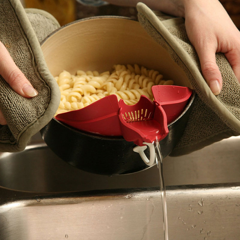 1PC Silicone Funnel Strainer Leak Proof Noodles Filter For Vegetable Drain Colander Rice Wash Isolator Kitchen Tool