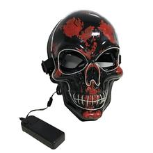 Horror Mask Halloween Black Bloody Thriller Head Glowing LED Prom Scary For Decoration