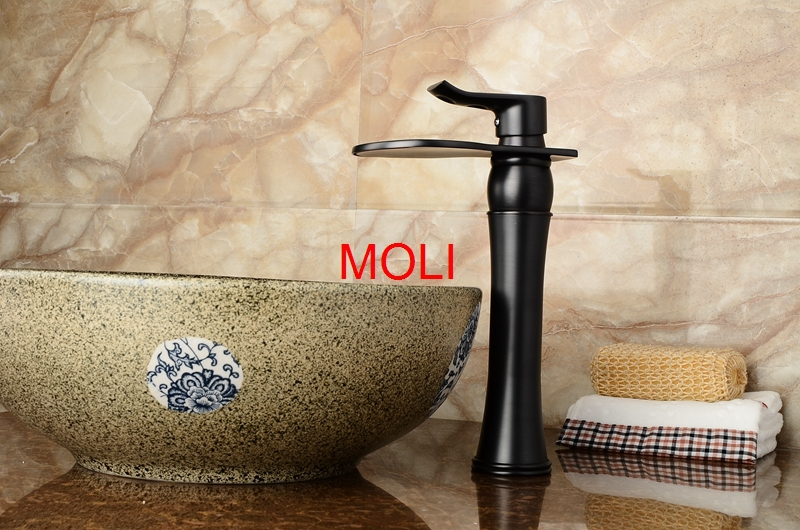 Bathroom waterfall faucet chrome oil rubbed bronze and gold finish ...