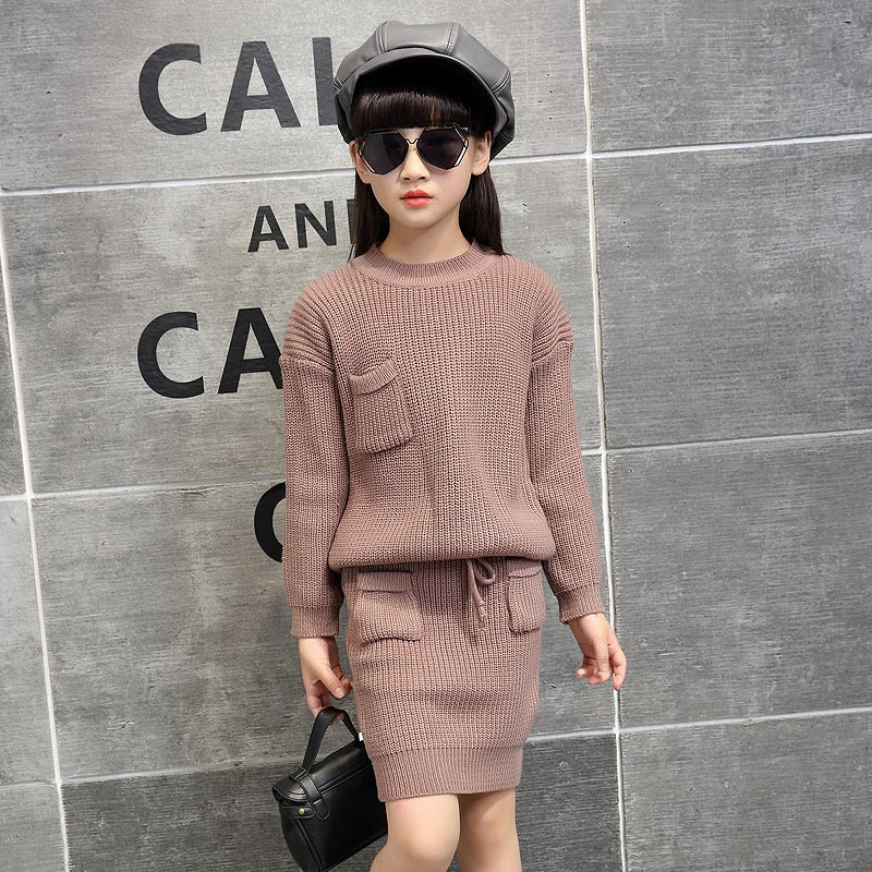 2017 autumn and winter new fashion children sweater suit beautiful girl knitting two suit skirt 4T 5T 6T 7T 2017 new children and adolescents autumn
