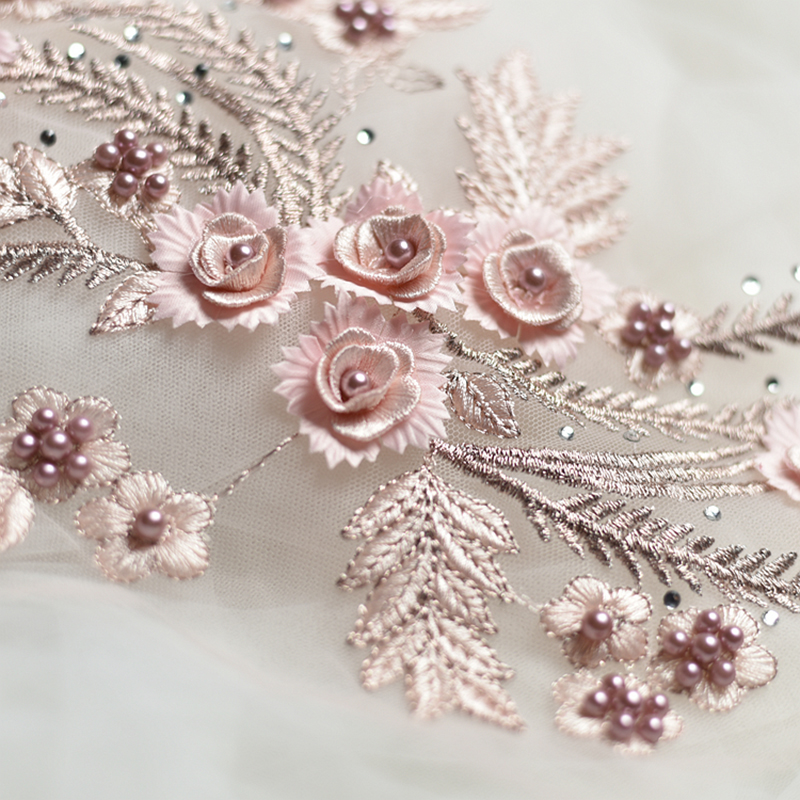 1PC 34 25CM Embroidered Stereo Lace Flowers Trim Nail Beaded Rhinestones Applique For DIY Sewing Wedding Dress in Lace from Home Garden