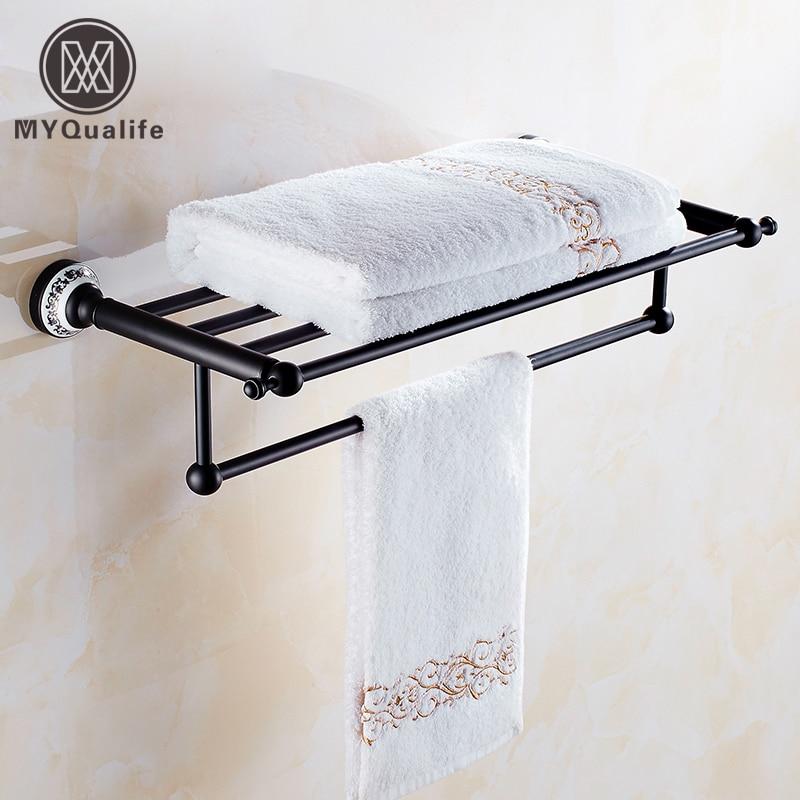 Wholesale and Retail Oil Rubbed Bronze Black Bathroom 24 Bath Towel Rack Shelf With Towel Bar
