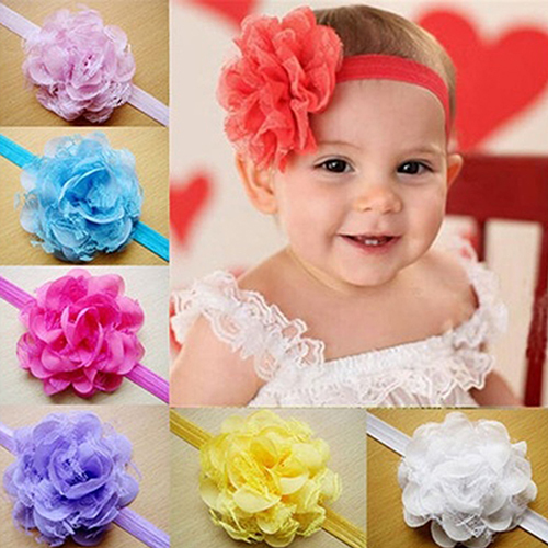 Hot Baby Toddler Girl Chiffon Flower Headband Floral Hair Band Headdress 5BV9 7G2K