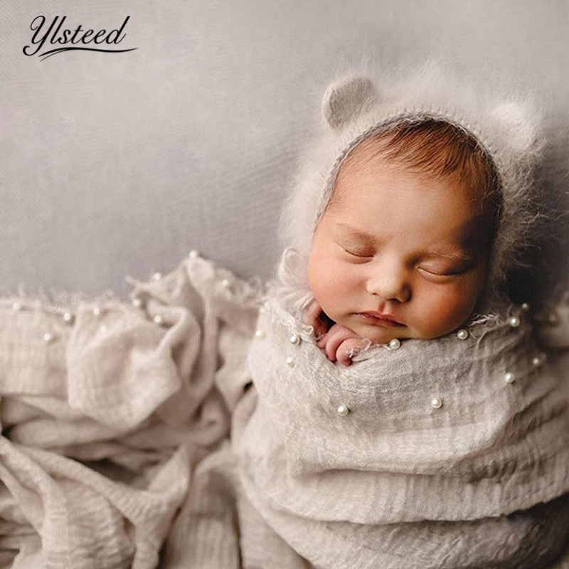 Ylsteed 90*180cm Pearl Deco Newborn Wrap Baby Photography Props Newborn Shooting Swaddle Wraps Baby Fotoshoot Basket Filler