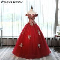 Vestido Debutante Burgundy Colored Sweet 15 Dresses Quinceanera Dresses Corset Appliqued Real Images Ball Gown Dress Quinceanera