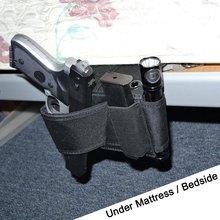 2017 New Cheap Tactical Bedside Handgun Holster Adjustable Under Mattress Bed Vehicle Seat Holder Gun Case Organizer