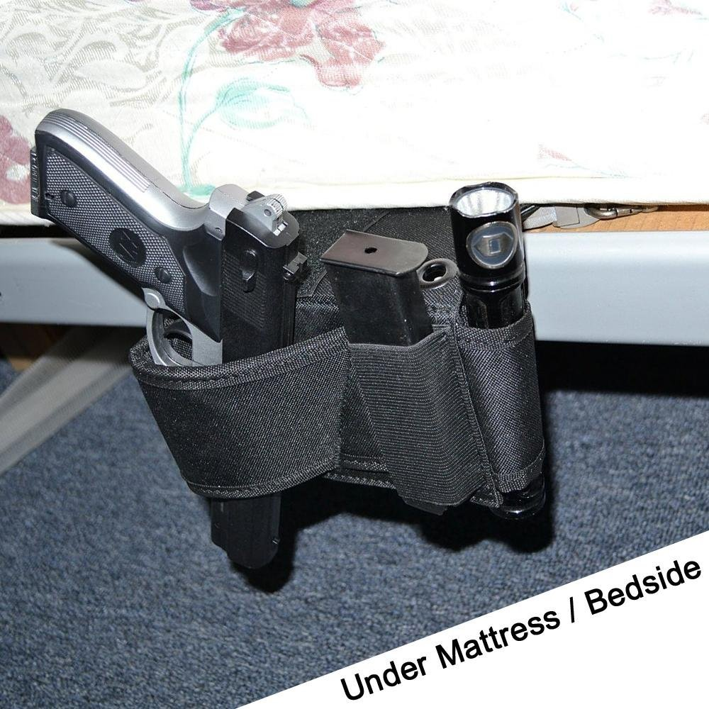 2017 New Cheap Tactical Bedside Handgun Holster Adjustable Under Mattress Bed Vehicle Seat Handgun Holder Gun Case Organizer image