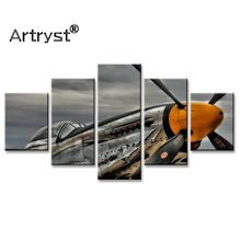 Wall Art Picture Home Decor Retro Poster Frame 5pcs HD Print Aircraft Vintage Modular Canvas Painting For Living Room Wall(China)