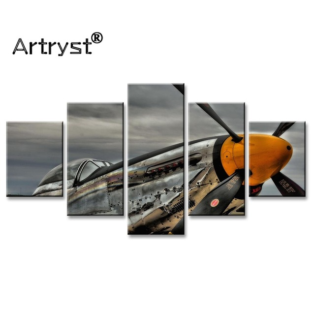 Wall Art Picture Home Decor Retro Poster Frame 5pcs HD Print Aircraft Vintage Modular Canvas Painting For Living Room Wall