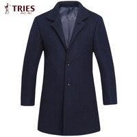 Cerca di Marca Uomo Autunno Inverno Trench Coat Cappotti Giacca Moda Casual da Uomo Slim Fit Grande Formato Peacoat Hombre Outwear