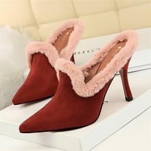 wedding dress fur high heels mules shoes woman high heel ladies pumps women  shoes sapatos mulher f29472d72677