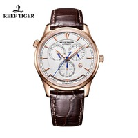 Reef Tiger/RT Mens Automatic World Time Watches with Date Day Month Rose Gold Leather Strap Watch RGA1951