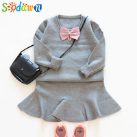 Sodawn 2017 Autumn Winter Girls Clothes Bow Decorated Sweater Fishtail Dress Girls Clothing Sets Fashion Style
