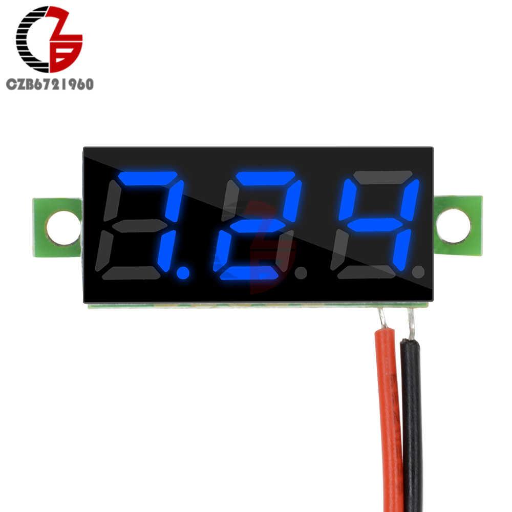 0.28 นิ้ว DC 12V MINI LCD Digital Voltmeter PANEL Volt Tester เครื่องตรวจจับ 2 สายไฟสีแดงสีเขียว blue LED สีเหลือง